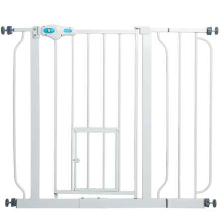 Carlson Pet Products Extra-Wide Expandable Pet Gate with Small Pet Door in White - Closeouts