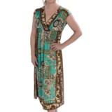 She's Cool Surplice Neck Dress - Short Sleeve (For Women)